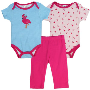 LITTLE BEGINNINGS Girls Infant 3-Piece Set: Flamingo
