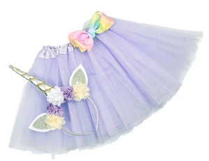 Girls Unicorn Headband/Tutu set Light Purple