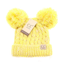 Kids Multi Tone Double Pom CC Beanies (Lemon)