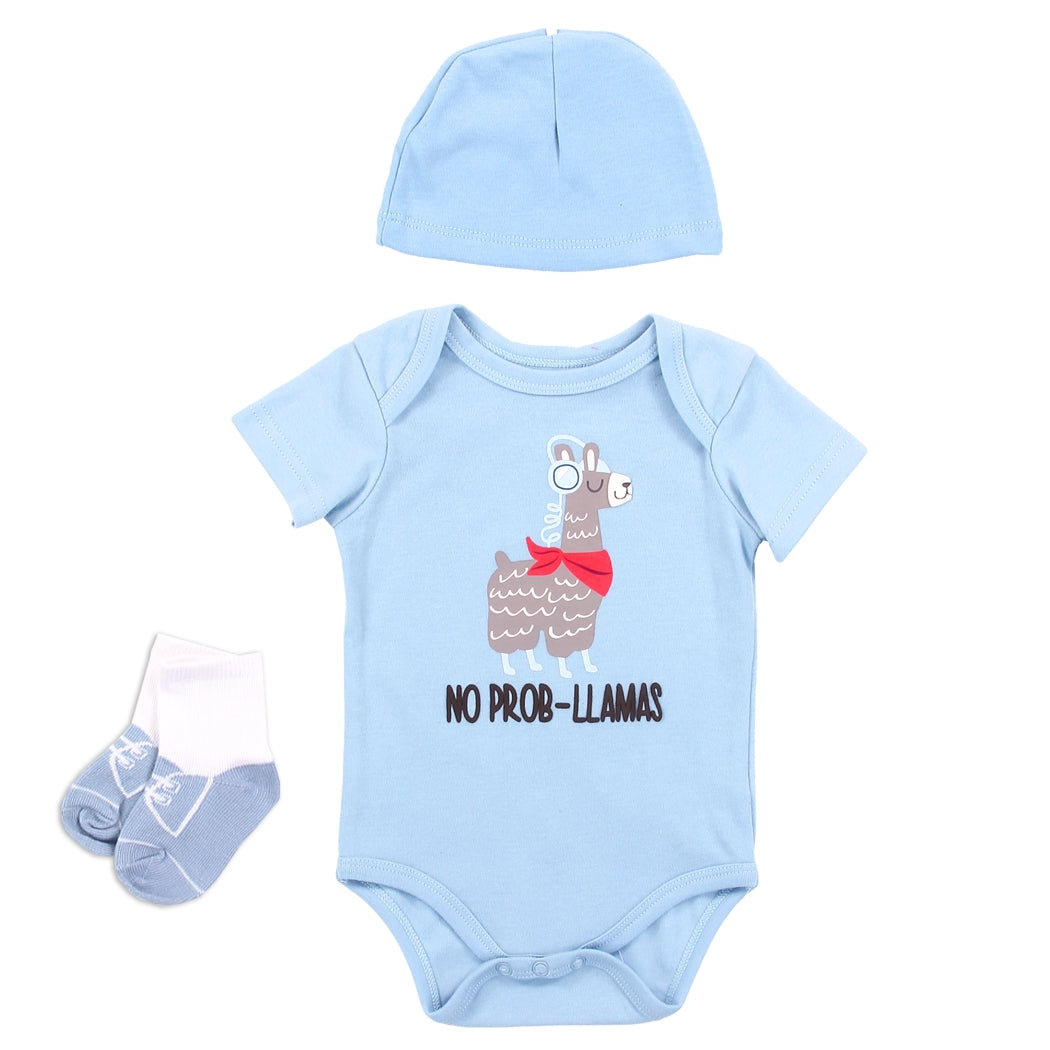 Infant Boy's Llama 3PC Layette Set