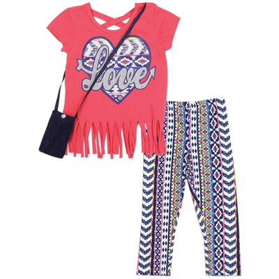 Girls 3PC Legging LOVE Set w/ Purse - RMLA