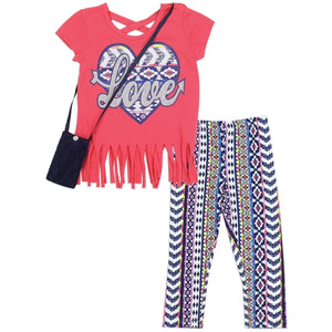 Girls LOVE 3PC Legging Set w/ Purse