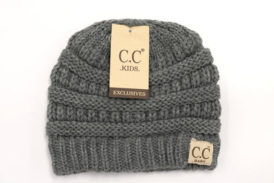 Kids Solid Double Pom CC Beanies (Light Grey)