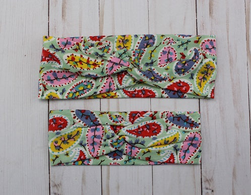 Bright Paisley Headband for Mommy & Me