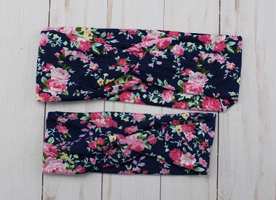 Navy Floral Mommy & Me Headband Set