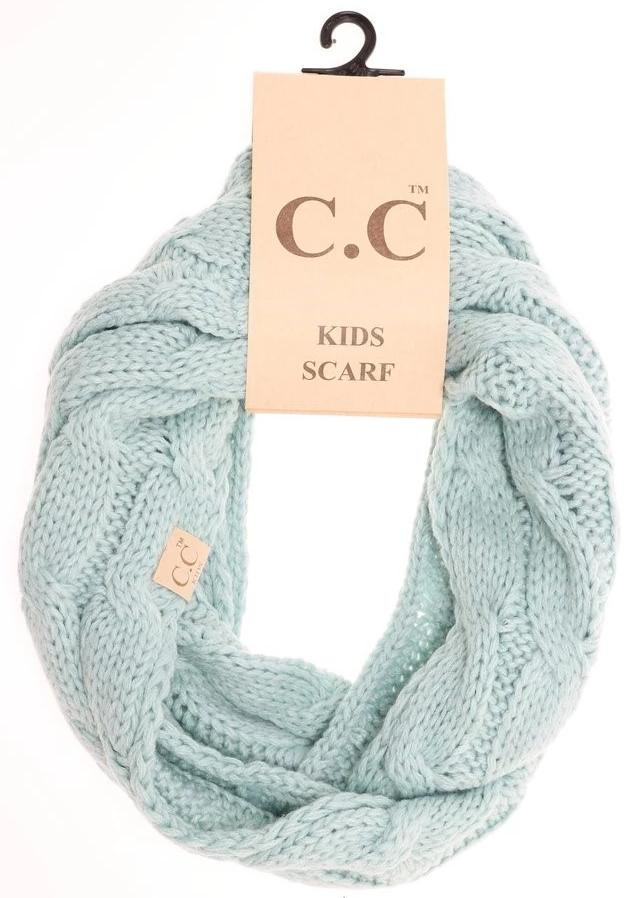 KIDS Solid Cable Knit CC Gloves (Mint)