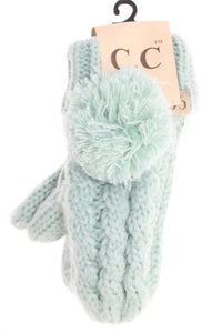 Kids CC Solid Pom Fuzzy Lined Mittens