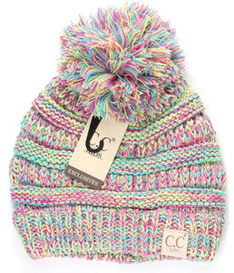 Kids Multi Tone CC Beanie Tail 2 (Multi #11)