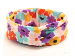 Girl's Bright Multi-color & Floral Knotted Headband