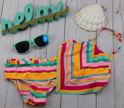 Girl's Chevron 2PC Bathing Suit UPF50