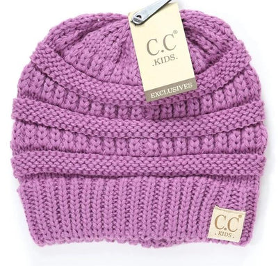 Kids Solid Double Pom CC Beanies (New Lavender)
