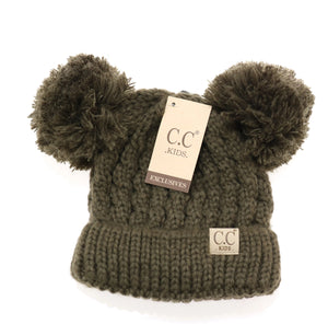 Kids Solid Double Pom CC Beanies (New Olive)