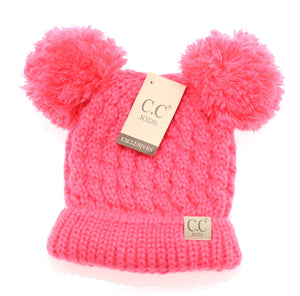 Kids Solid Double Pom CC Beanies (New Candy Pink)