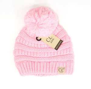 Kids Solid Double Pom CC Beanies (Pale Pink)