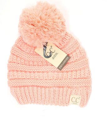 Kids Solid Double Pom CC Beanies (Peach)