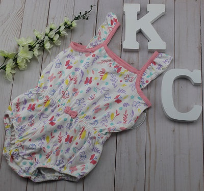 Infant Girl's Pink Butterfly Romper