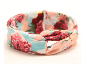Girl's Knotted Headband-Pink Floral