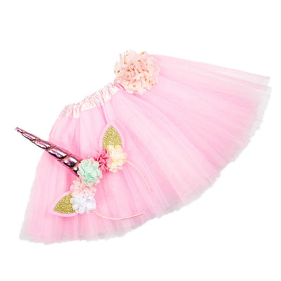 Girls Unicorn Headband/Tutu set Pink