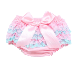 Girl's  Lace Bloomers- Pink & Blue