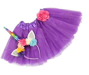 Girls Unicorn Headband/Tutu set Purple