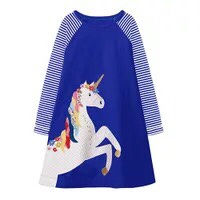 Girl's Casual Long-Sleeved Unicorn Dress (3 Colors)