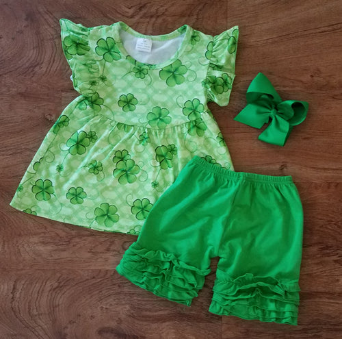 Girl's Shamrock Short Set