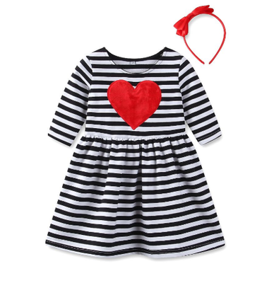 Girl's Heart Dress & Headband Set