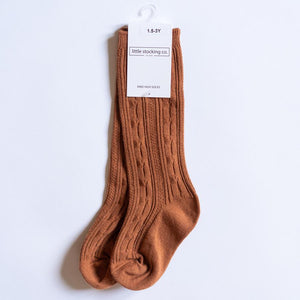 Girl's Cable Knit Knee High Socks (18 Colors)