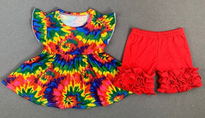 Girl's Tie-Dyed 2PC Ruffle Short Set