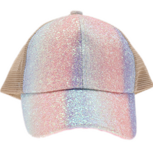 KIDS  CC Beanie Glitter Ombre Criss-Cross High Ponytail CC Ball Cap