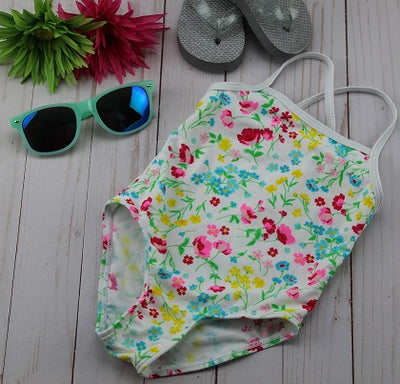 Infant-Toddler Girl's White Floral Bathing Suit