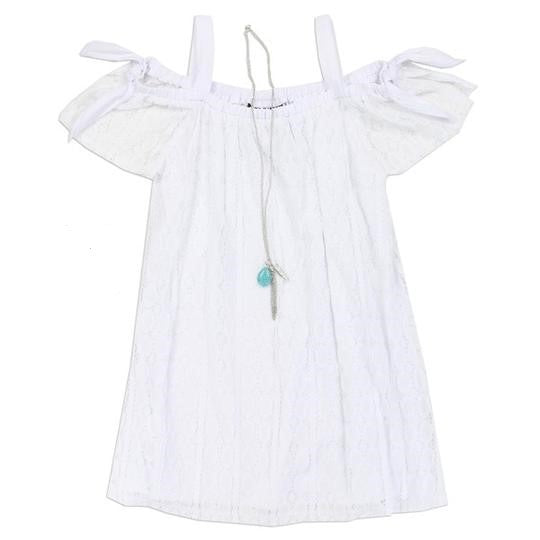 Girls Lace  Off Shoulder Dress - White