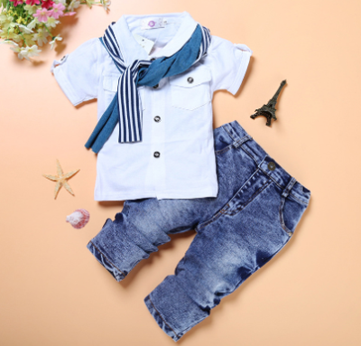 Trendy Boys 3PC Denim Pants Set