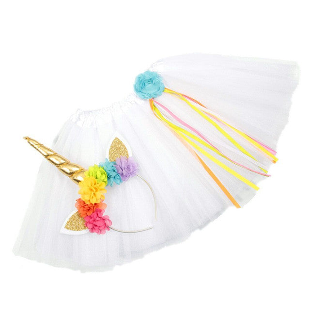 Girls Unicorn Headband/Tutu set (White)