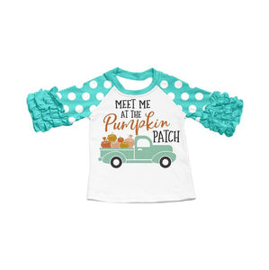 "Girl's Ruffled ""Meet Me at the Pumpkin Patch"" Raglan - Teal"