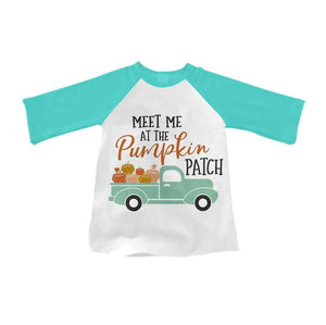 "Boy's ""Meet Me at the Pumpkin Patch"" Raglan - Teal"