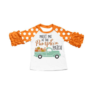 "Girl's Ruffled ""Meet Me at the Pumpkin Patch"" Raglan - Orange"