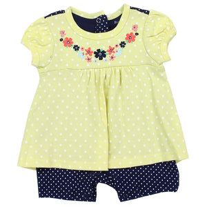 Infant Girls Flowers & Polka Dots Romper