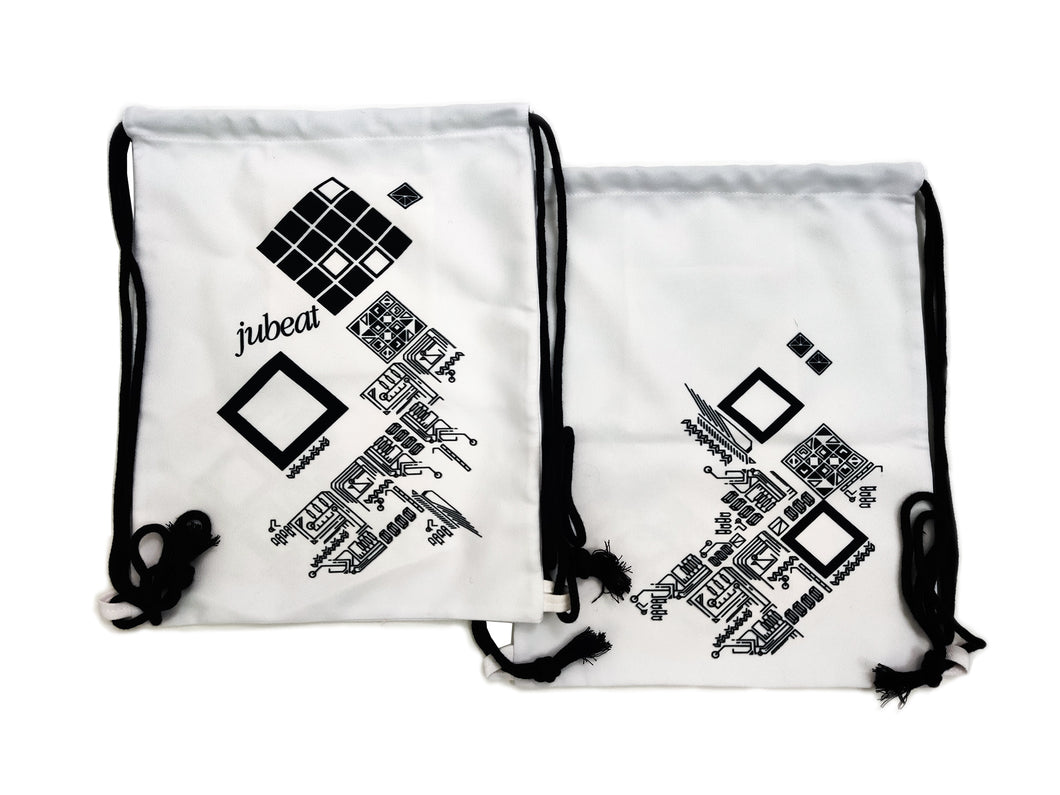 JUBEAT WHITE DRAWSTRING BAG