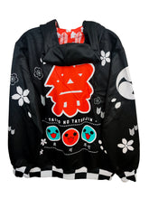 Load image into Gallery viewer, TAIKO BLACK ZIPPER HOODIE