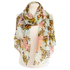 Morris Single Stem Coral Chiffon Scarf