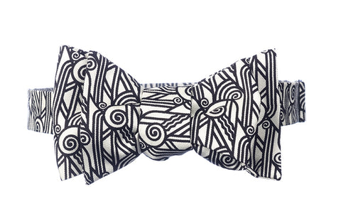 Deco Volute Silk Bow Tie