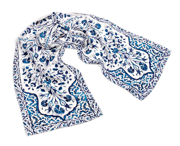 Islamic Tiles Crepe de Chine Silk Scarf