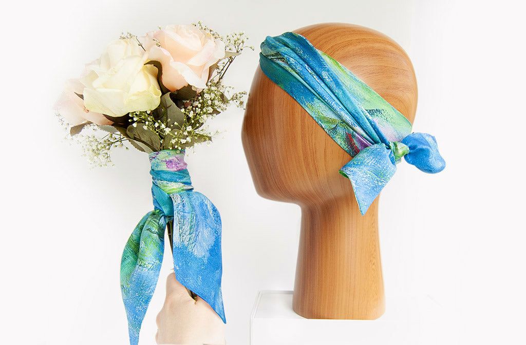 Bridesmaid Bouquet, skinny scarf and Headband