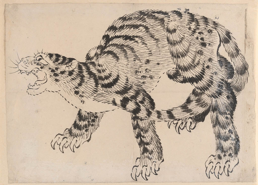 Ink study of a Tiger by Hokusai