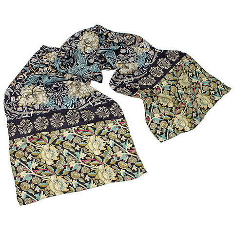 Morris Black Mix Crêpe de Chine Scarf