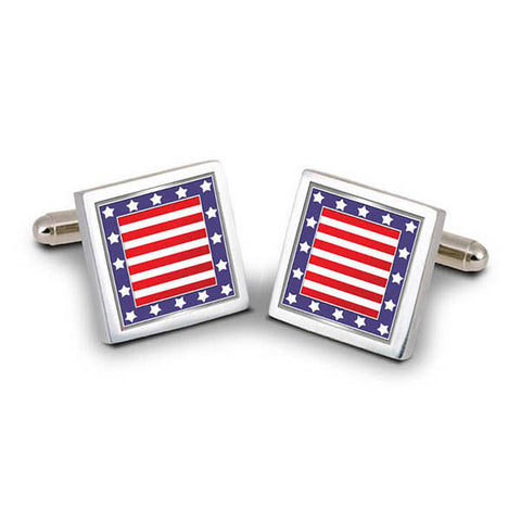 US Flag Square Cuff Links