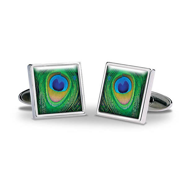 Peacock Feathers Cuff Links