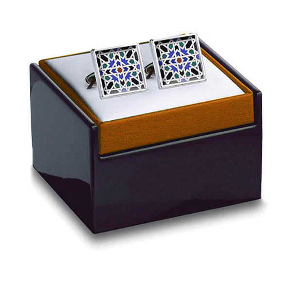 Alhambra Geometric Cuff Links with box