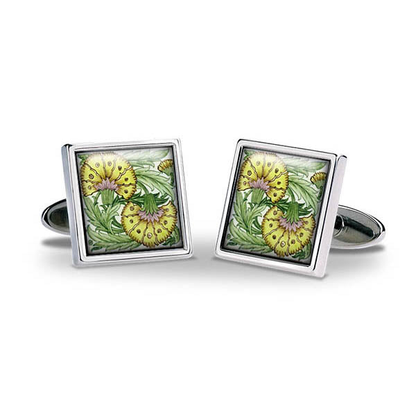 De Morgan Flowers Yellow Cuff Links